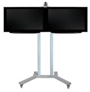 b-tech-videokonferenz-standfuss-bt8521-fuer-2-x-42-zoll-boden-schwarzrohre-schwarz