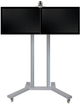 b-tech-videokonferenz-standfuss-bt8521-fuer-2-x-42-zoll-boden-schwarzrohre-chrom