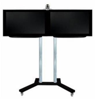 b-tech-videokonferenz-standfuss-bt8520-fuer-2-x-32-zoll-boden-schwarzrohre-chrom