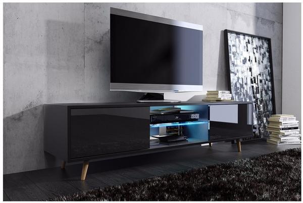 Lili-Design Rivano TV-Lowboard schwarz matt/schwarz Hochglanz