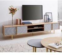 DeLife Metropolitan TV-Lowboard 240 cm 4 Türen Beton Messing Mango Natur