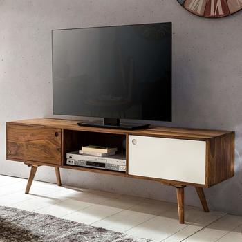 wohnling-tv-lowboard-140-cm-massiv-holz-sheesham-landhaus-2-tueren-fach-hifi-regal-braunweiss-4-fuesse-fernseher-kommode-vintage