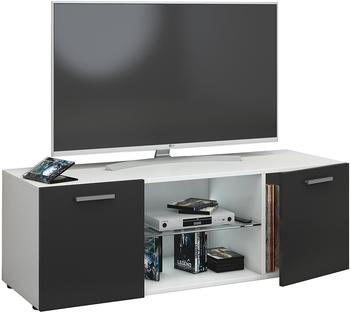 VCM TV-Lowboard Lowina 115cm Weiß/Schwarz