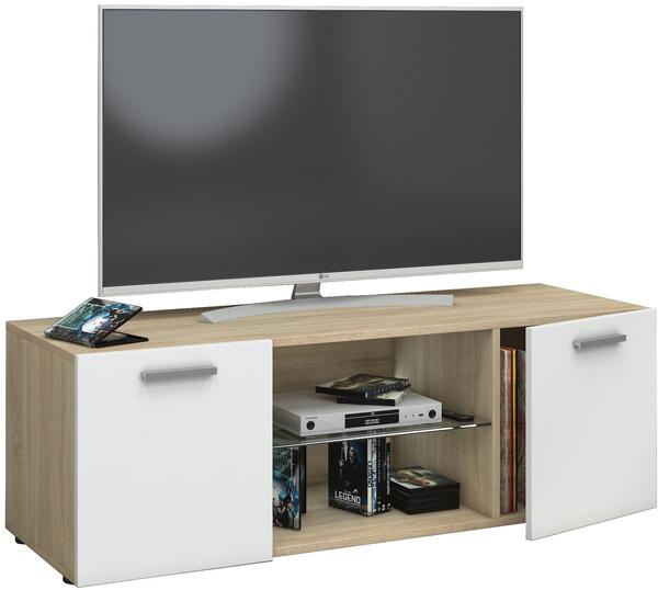 VCM TV-Lowboard Lowina 115cm Sonoma/Weiß