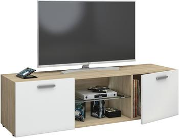VCM TV-Lowboard Lowina 140cm Sonoma/Weiß