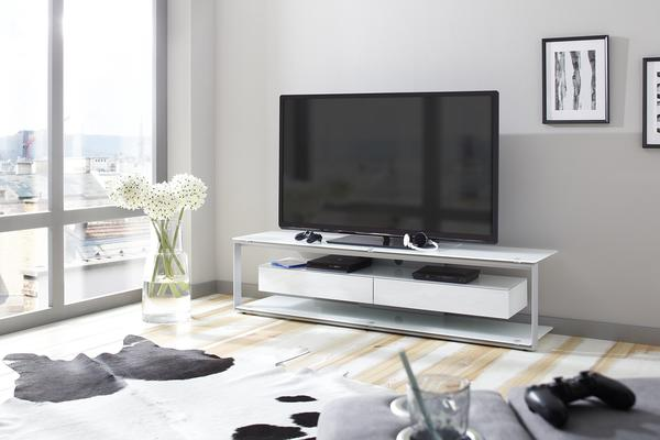Maja JOICE 5206 TV-Rack 170cm platingrau/Weißglas