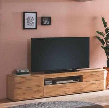 MCA Furniture TV-Element Balkeneiche Bianco geölt mit fünf Schubkästen und einem offenen Fach Woody 41-03068