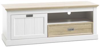 MCA Furniture Lowboard weiss mattWildeiche Nachbildung mit einer Klappe und einem Schubkasten Woody 41-03054