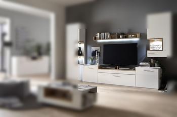 MCA Furniture TV-Element Lowboard weiss matt lackiertRückwand Asteiche furniert - 240 cm breit Woody 41-03126