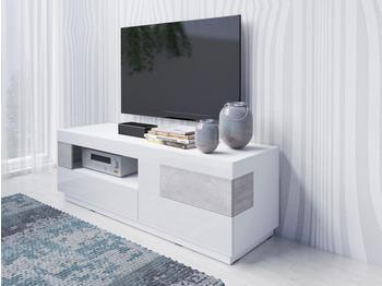 TRENDMANUFAKTUR Silke TV-Lowboard 1600 mm weiß Hochglanz/Beton-Optik