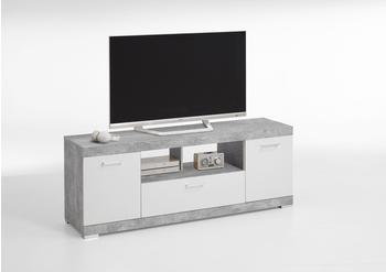 FMD Bristol TV-Lowboard 1600 mm Beton Optik/weiß Edelglanz