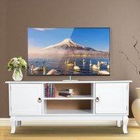 Homcom TV Lowboard Fernsehtisch Fernsehschrank Holzfüße Wohnzimmer MDF 120cm Weiß