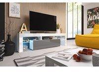 Fun Möbel Toris TV-Lowboard 1580 mm weiß/grau Hochglanz