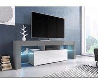 Fun Möbel Toris TV-Lowboard 1380 mm grau/weiß Hochglanz