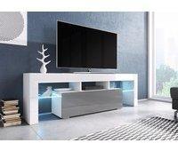 Fun Möbel Toris TV-Lowboard 1380 mm weiß/grau Hochglanz