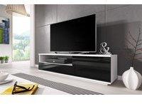 Fun Möbel Zuma TV-Lowboard 1380 mm weiß/schwarz Hochglanz