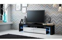 Fun Möbel Jack TV-Lowboard 2000 mm schwarz/weiß Hochglanz