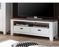 expendio Lowboard Barnelund 140x55x45 cm Akazie weiß TV-Möbel TV-Schrank Wohnzimmer TV-Board Landhausmöbel