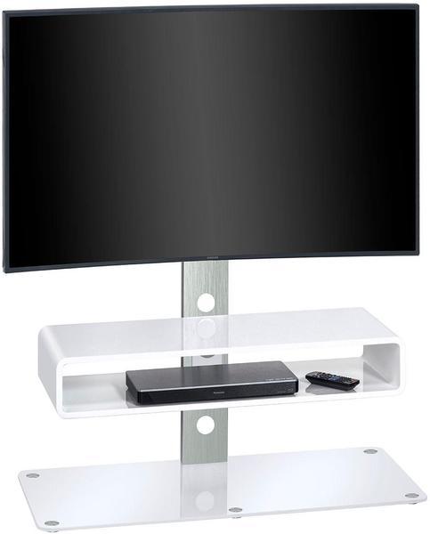Maja Möbel 1632 TV-Rack metall alu/weißglas