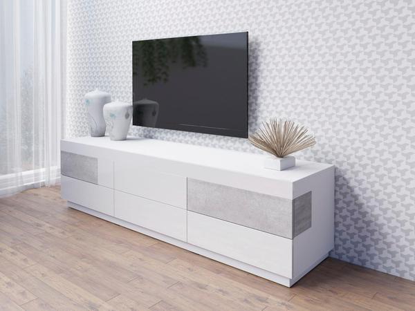 TRENDMANUFAKTUR Silke TV-Lowboard 206 cm weiß hochglanz/beton-optik
