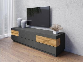 TRENDMANUFAKTUR Silke TV-Lowboard 206 cm anthrazit Matera/votaneichefarben
