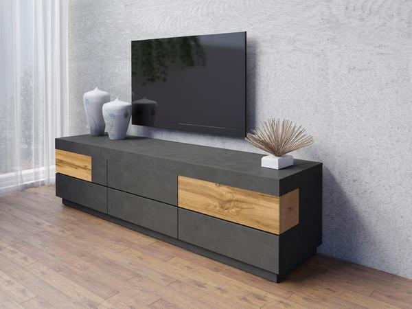 TRENDMANUFAKTUR Silke TV-Lowboard 2060 mm anthrazit Matera/votaneichefarben