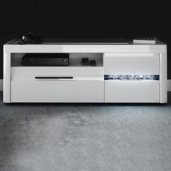 NECKERMANN Mosaic TV-Lowboard 150 cm Hochglanz weiß/echtes Glas Mosaik