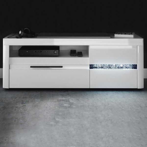 NECKERMANN Mosaic TV-Lowboard 1500 mm Hochglanz weiß/echtes Glas Mosaik