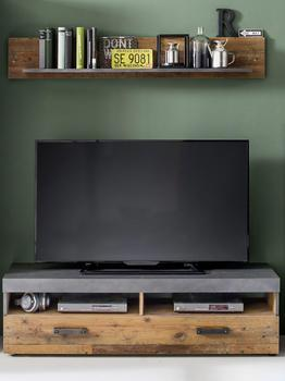 trendteam TV-Lowboard Wandboard Indy in Used Wood Shabby mit Matera grau