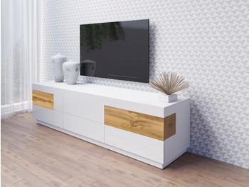 NECKERMANN Silke TV-Lowboard 2060 mm weiß Hochglanz/votaneichefarben