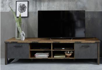 trendteam TV-Lowboard Prime in Old Used Wood Design mit Matera grau TV-Unterteil Shabby 207 x 52 cm
