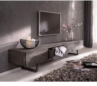 DeLife Fernsehtisch Wyatt 220 cm 4 Schubladen Design Lowboard Lowboard silberfarben Material: Akazie