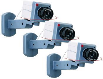 Smartwares 3er-Set Kamera-Attrappe Dummy, Schwenkbewegung, Bewegungsmelder, blinkende LED
