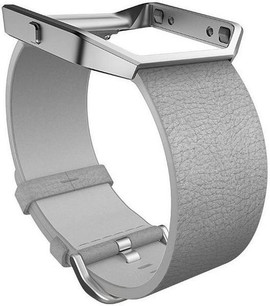 Fitbit Blaze Lederarmband + Rahmen grau L