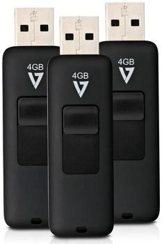 V7 USB 2.0 Flash Drive Retractable 4GB 3Pack