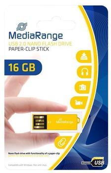 MediaRange USB 2.0 Nano-Speicherstick Büroklammer 16GB gelb