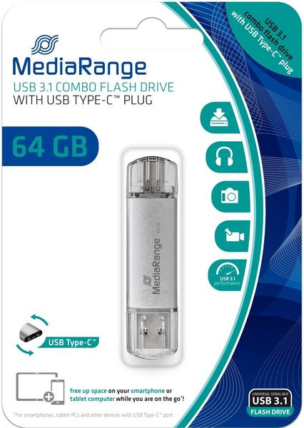 MediaRange USB 3.0 Kombo Typ-C