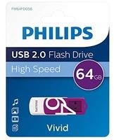 Philips Vivid USB 2.0 Speicherstick 64 GB – Design-USB-Stick, farblich sortiert