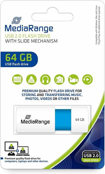 MediaRange USB Speicherstick, Color Edition, hellblau, 64GB