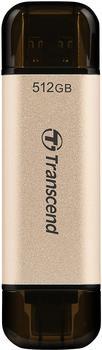 Transcend JetFlash 930C 512 GB USB-Stick, gold/schwarz, USB-A 3.2 Gen 1, USB-C