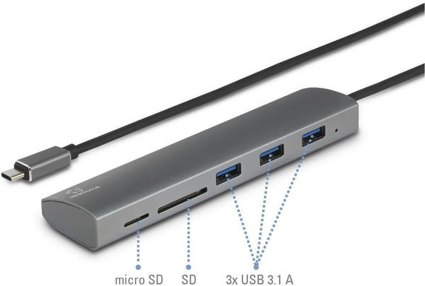 Renkforce 3 Port USB 3.0-C Hub/Cardreader (RF-3374948)