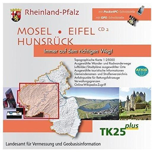 Rheinland-Pfalz, 1 CD-ROM Mosel, Eifel, Hunsrück. Für Windows 98/ME/NT 4.0/2000/XP/Vista. 1 : 25.000