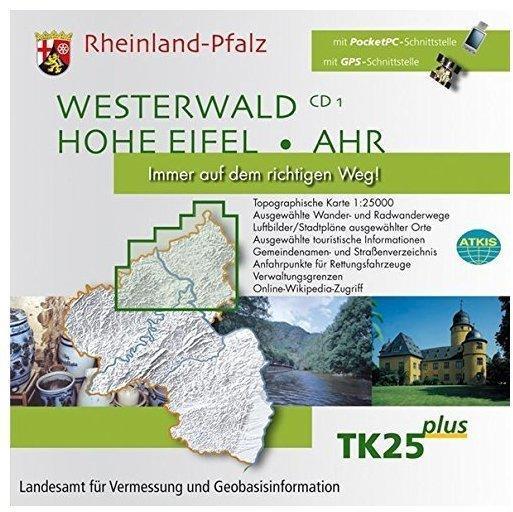 Rheinland-Pfalz, 1 CD-ROM Westerwald, Hohe Eifel, Ahr. Für Windows 98/ME/NT4.0/2000/XP/Vista. 1 : 25.000