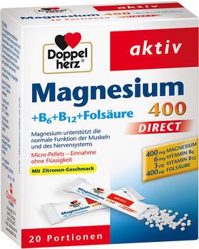 Doppelherz Magnesium 400 Direct + B6 + B12 + Folsäure (20 Stk.)
