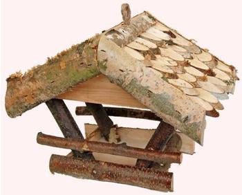 Conni Vogelhaus aus Birkenholz mit Schindeldach 30x25x23cm