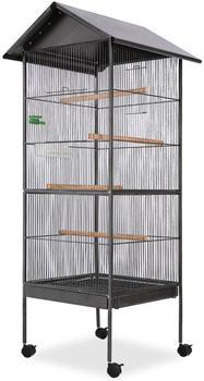 vidaXL Vogelkäfig mit Dach Stahl schwarz 66x66x155cm