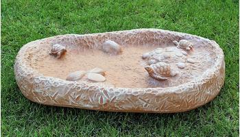 Tiefes-Kunsthandwerk Vogeltränke mit Schildkröten Terrakotta
