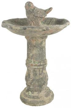 Esschert Vogeltränke aus gealterter Keramik moosgrün