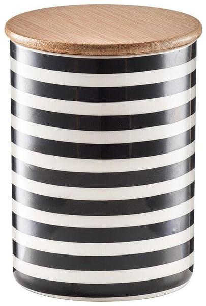 Zeller Vorratsdose Stripes 900 ml 2er Set schwarz