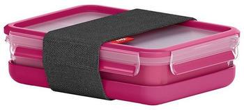 Emsa Clip & Go Lunchbox mit 2 Einsätze 1,2 Liter himbeer